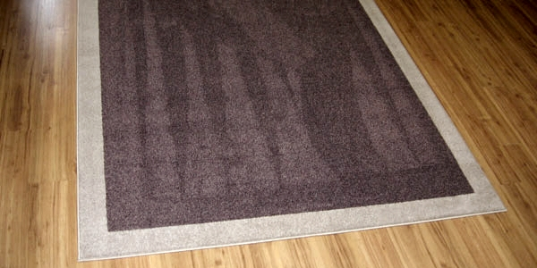 Area rug with border and carpet serging